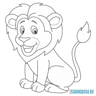 Print a coloring book content lion on A4