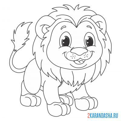 Print a coloring book shaggy lion cub on A4