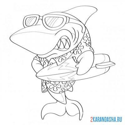 Раскраска шелковая акула для детей распечатать