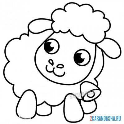 Print a coloring book cute lamb on A4