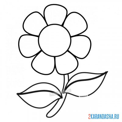 Print a coloring book flower on A4
