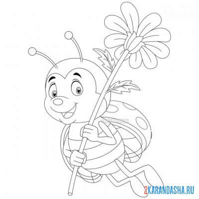 Print a coloring book cutie with a flower on A4