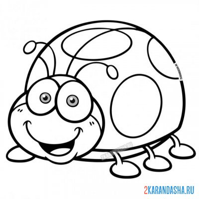 Print a coloring book funny insect on A4