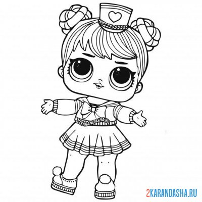 Print a coloring book doll lol sailor q.t in a skirt on A4