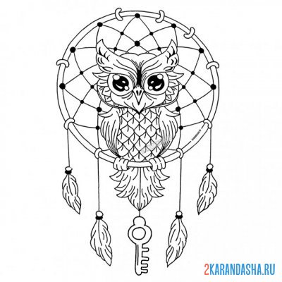 Print a coloring book dreamcatcher and owl bird on A4