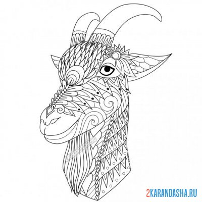 Print a coloring book goat on A4