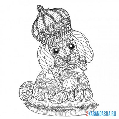 Print a coloring book dog with a crown on A4