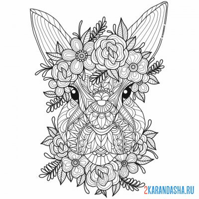 Print a coloring book very cute rabbit or hare on A4
