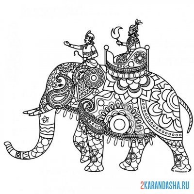 Print a coloring book indian elephant on A4
