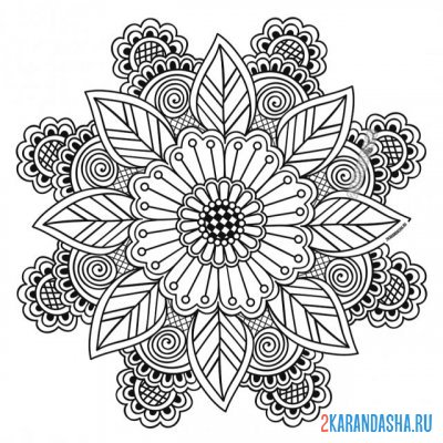 Print a coloring book mandala fortune on A4