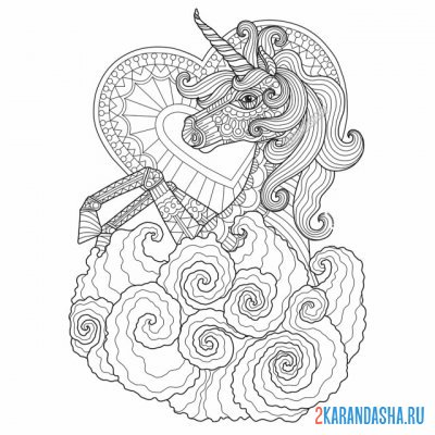 Print a coloring book unicorn in flowers on A4