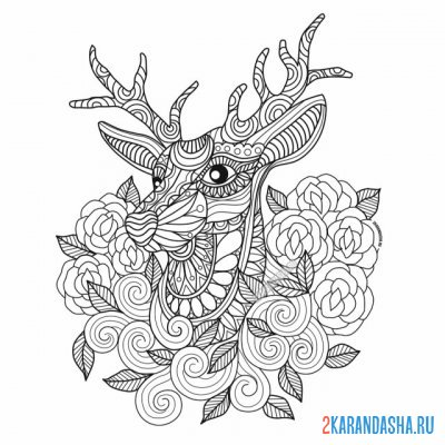 Print a coloring book deer in flowers on A4