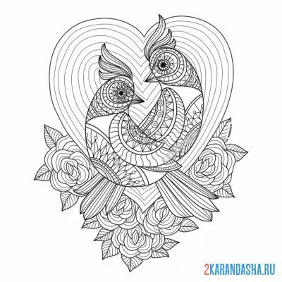 Print a coloring book birds love on A4