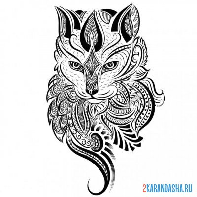 Print a coloring book gorgeous cat on A4