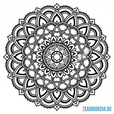 Print a coloring book mandala of fidelity on A4