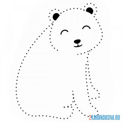 Print a coloring book cute bear on A4