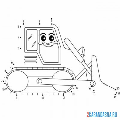 Print a coloring book small bulldozer for a boy on A4