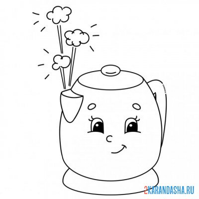 Print a coloring book boiling kettle with eyes on A4