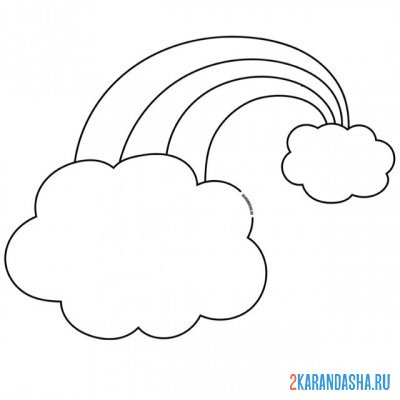 Print a coloring book rainbow and cloud on A4