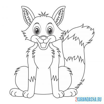 Print a coloring book fox in a good mood on A4