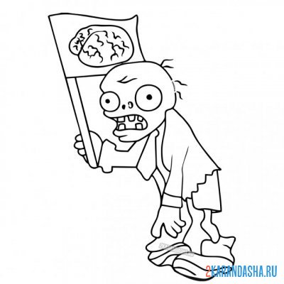 Print a coloring book zombie with flag on A4