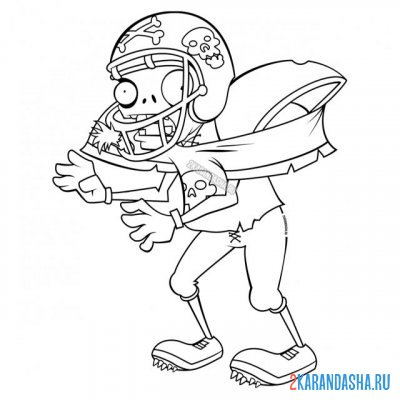 Print a coloring book zombie soccer player on A4