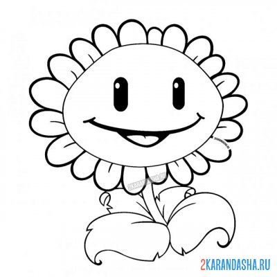 Print a coloring book sunflower on A4