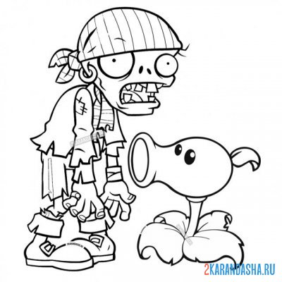 Print a coloring book zombie pirate and peas on A4