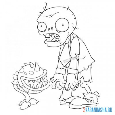 Print a coloring book common garden zombie and nibbler on A4