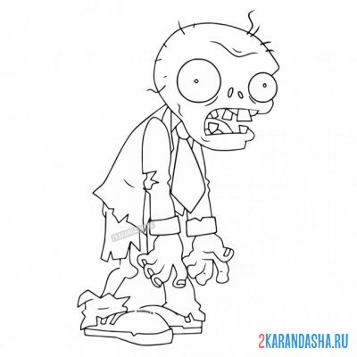 Print a coloring book common zombie on A4