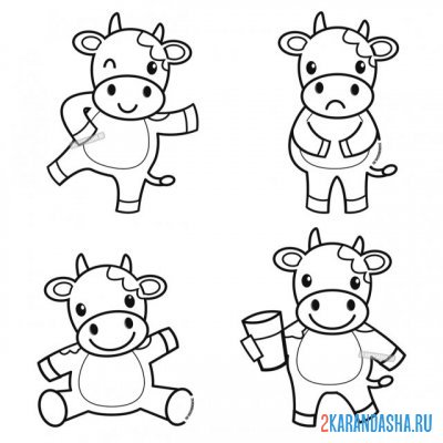 Print a coloring book cows with milk on A4