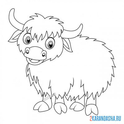Print a coloring book baby bull like on A4