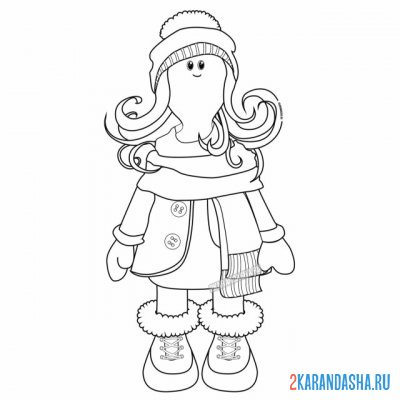 Print a coloring book textile doll tilda in winter clothes on A4