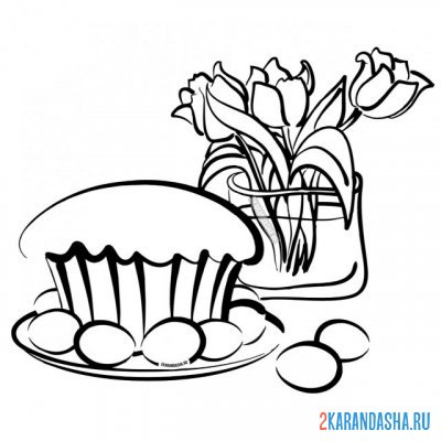 Print a coloring book easter cake, eggs and flowers on A4