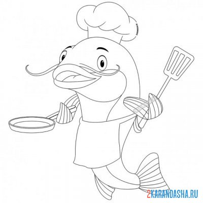 Print a coloring book funny catfish chef on A4