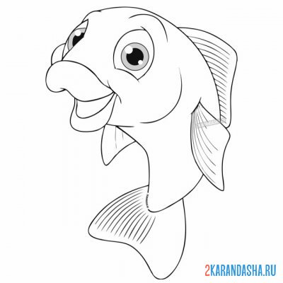 Print a coloring book cheerful carp on A4