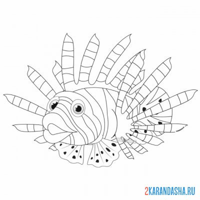Print a coloring book sea lionfish on A4