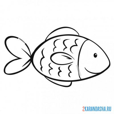 Print a coloring book simple fish on A4