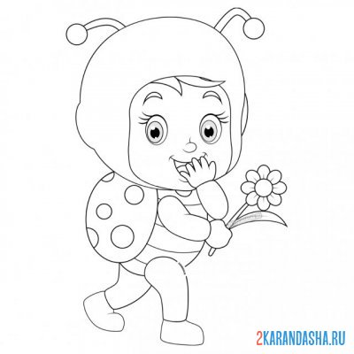 Print a coloring book baby ladybug on A4
