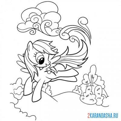 Раскраска май литл пони радуга дэш девочка пони для ...