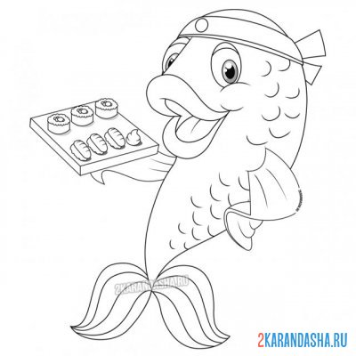 Print a coloring book underwater sushi on A4