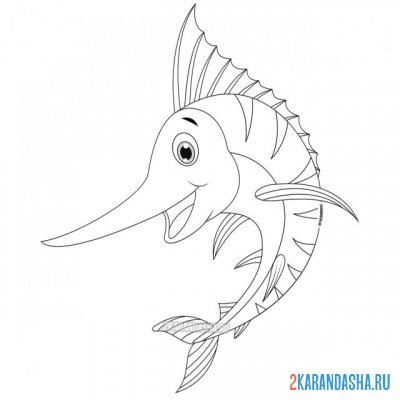 Print a coloring book swordfish on A4