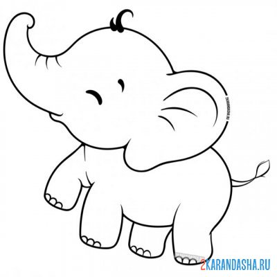 Print a coloring book baby elephant easy to color on A4