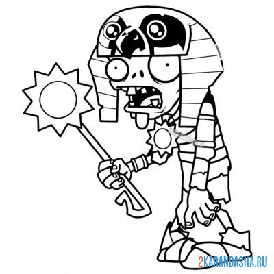 Print a coloring book zombie pharaoh from egypt on A4