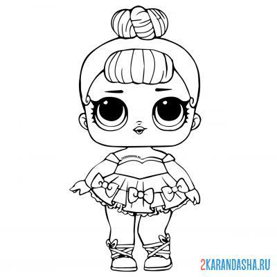 Print a coloring book doll lol miss baby on A4