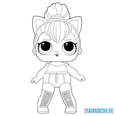 Print a coloring book doll lol queen of cats (kitty queen) on A4
