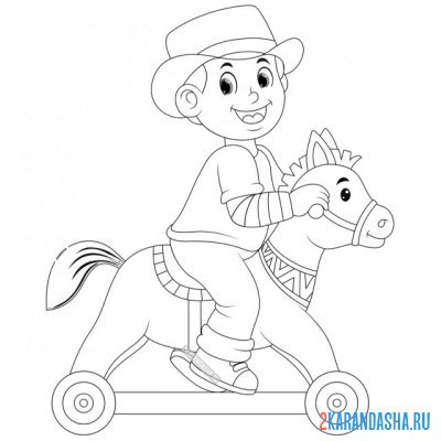 Print a coloring book boy on a toy horse on A4