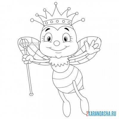 Print a coloring book bee queen on A4