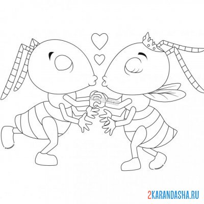Print a coloring book couples in love on A4