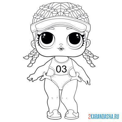 Print a coloring book doll lol sportswoman (spike) on A4